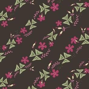 Purple Shamrock Floral Diagonal / Chocolate