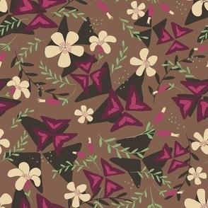 Purple Shamrock Floral Layered / Brown