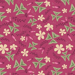 Purple Shamrock Floral Ditsy / Dark Pink