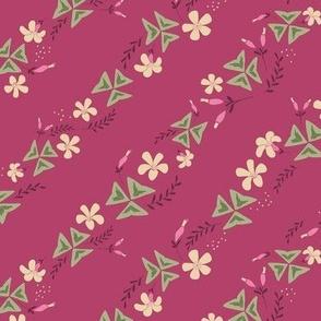 Purple Shamrock Floral Diagonal / Dark Pink