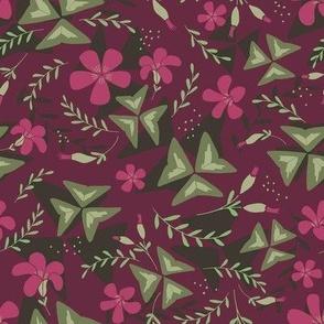 Purple Shamrock Floral Layered / Purple