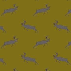 Gray deer on mustard