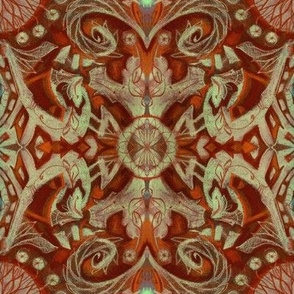 Curves and Lotuses Bohemian Arabesque Rusty Red Brown