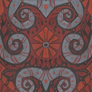 Mutton Horns and Autumn Flowers, Bohemian Arabesque, Grey Terracotta Orange