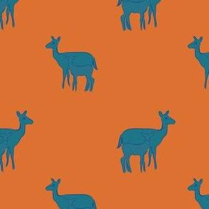 blue mama and baby deer on orange