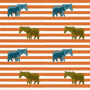 Striped Mama and baby horse