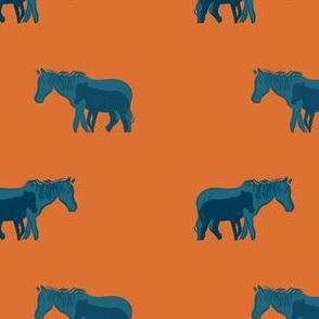 Blue mama and baby horse on orange