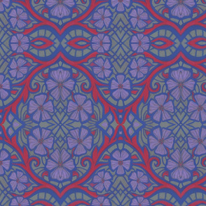 Nocturnal Flowers,  Bohemian Arabesque,  Vintage Floral, Grey Lavender Ruby