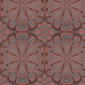 Peach Grey Brown Lace Bohemian Arabesque Pattern