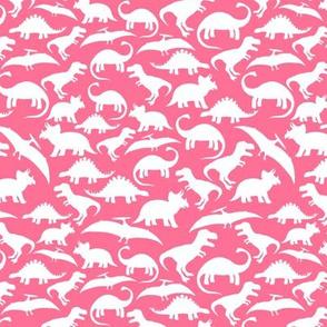 White Dinos on Hot Pink