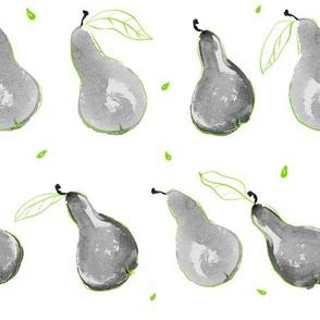 Minimalist Pears: grey + green