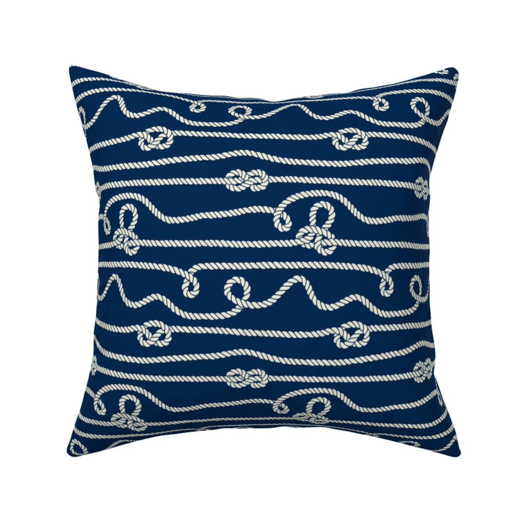Catalan Throw Pillow featuring Intricate Rope Pattern with Knots by anastasiia_macaluso