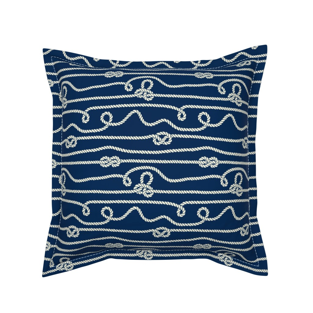 Serama Throw Pillow featuring Intricate Rope Pattern with Knots by anastasiia_macaluso
