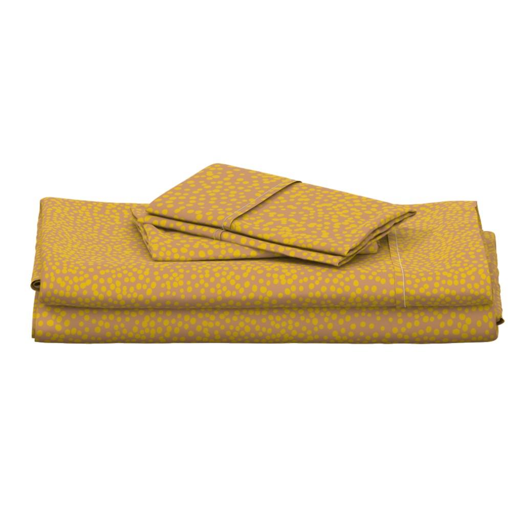 Langshan Full Bed Set featuring mustard dots on blush by juliaschumacher