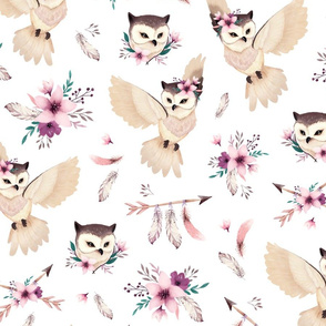 Bohoo Owl - boho owl and floral - white