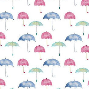 Rain vibes • watercolor umbrellas pattern