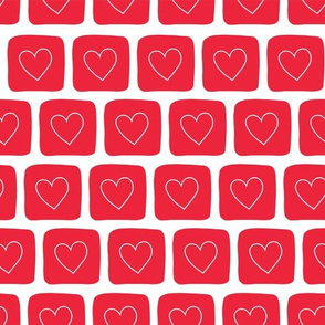 Doodle Hearts in Squares Red on White