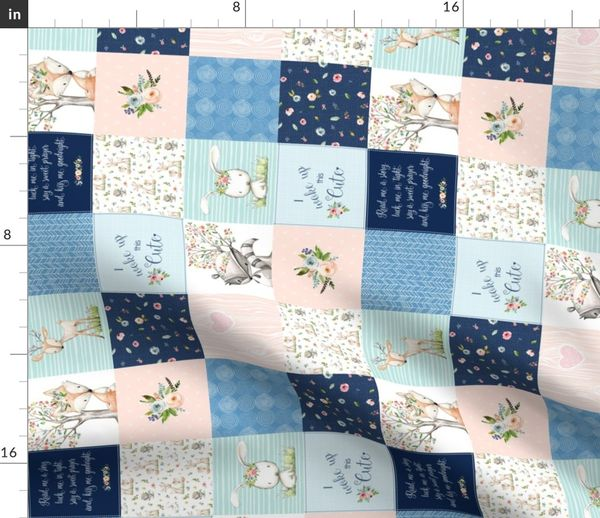 Fabric By The Yard 3 Blocks Woodland Friends Nursery Patchwork Quilt Rotated I Woke Up This Cute Wholecloth Deer Fox Rac Bunny Navy Pink