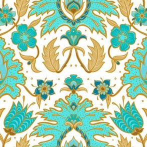 Boho Floral Tile - Turquoise and Mustard