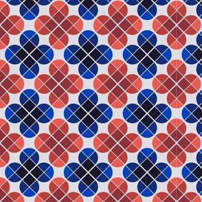 Geometric Pattern: Flower: Four Petal: Blue/Red