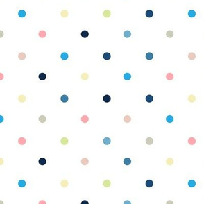 Colorful Polka Dots / White