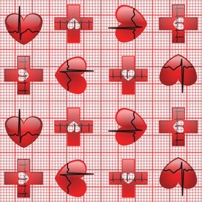 EKG Love White Red
