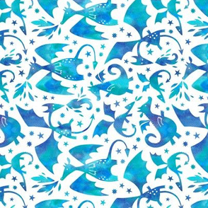 Fire dragons in blue watercolors (rotated, small)