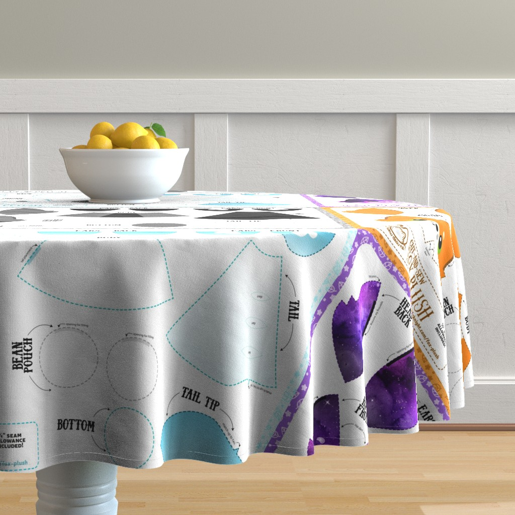 Malay Round Tablecloth featuring Cut and Sew Fox Plush Bundle by sewdesune