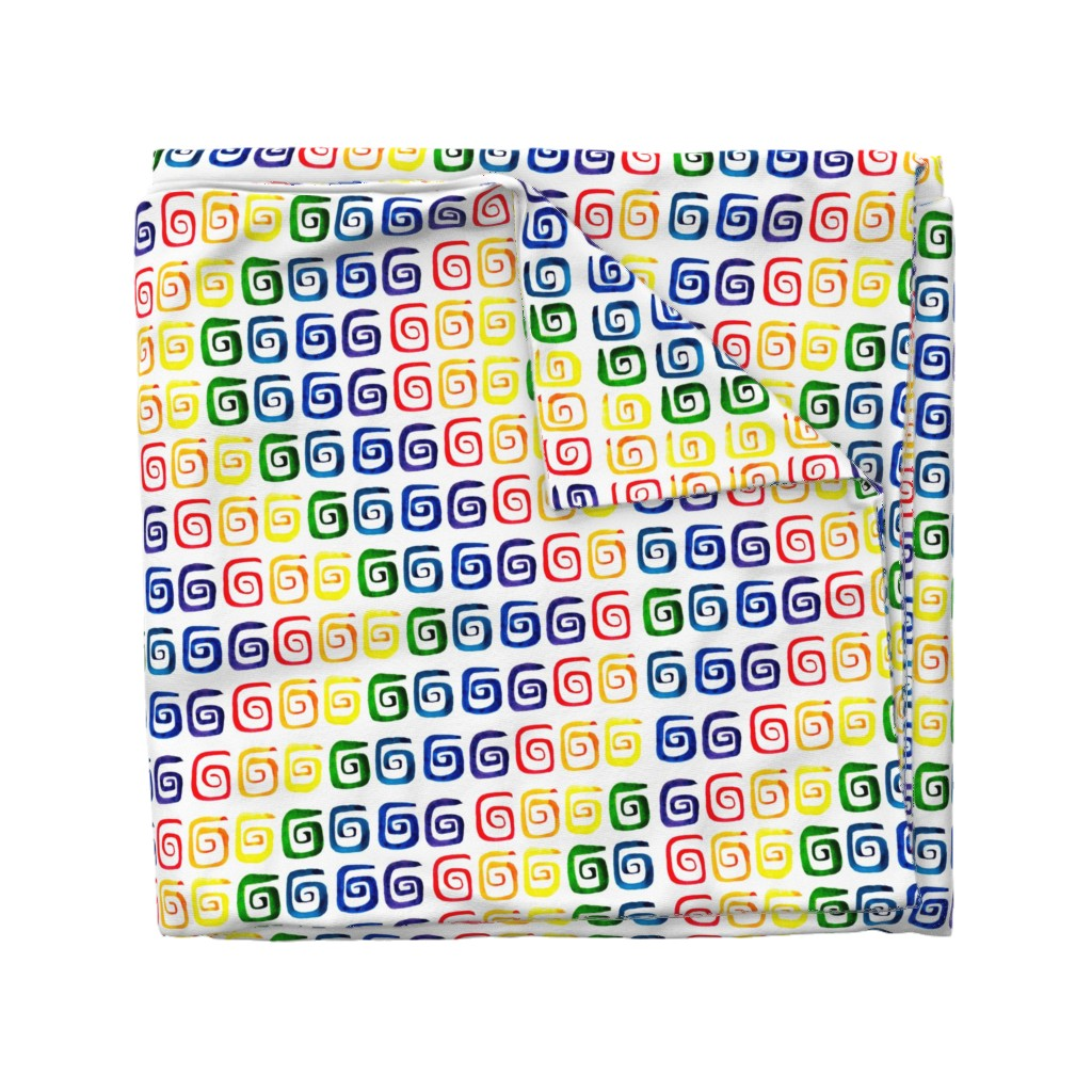 Wyandotte Duvet Cover featuring Symmetrical color spirals by katrinkastem