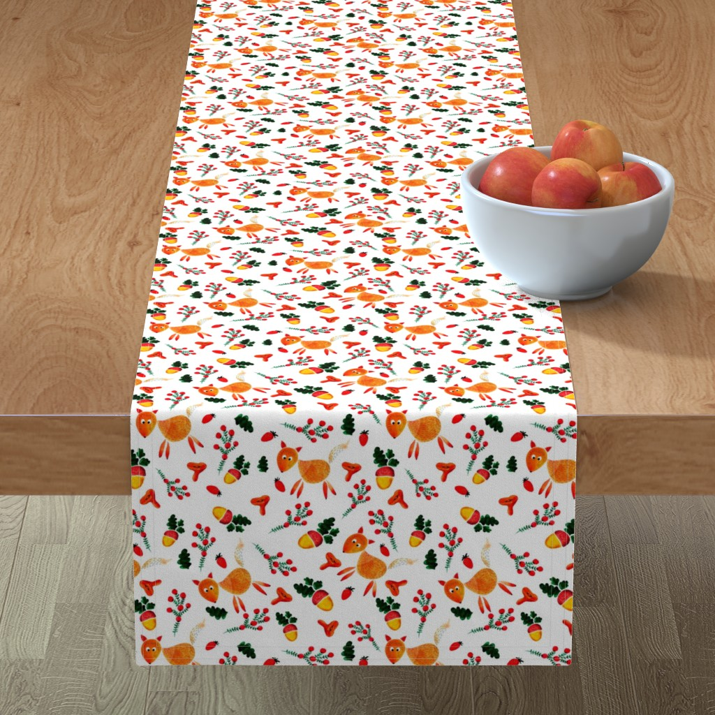 Minorca Table Runner featuring  chanterelles and acorns by katrinkastem