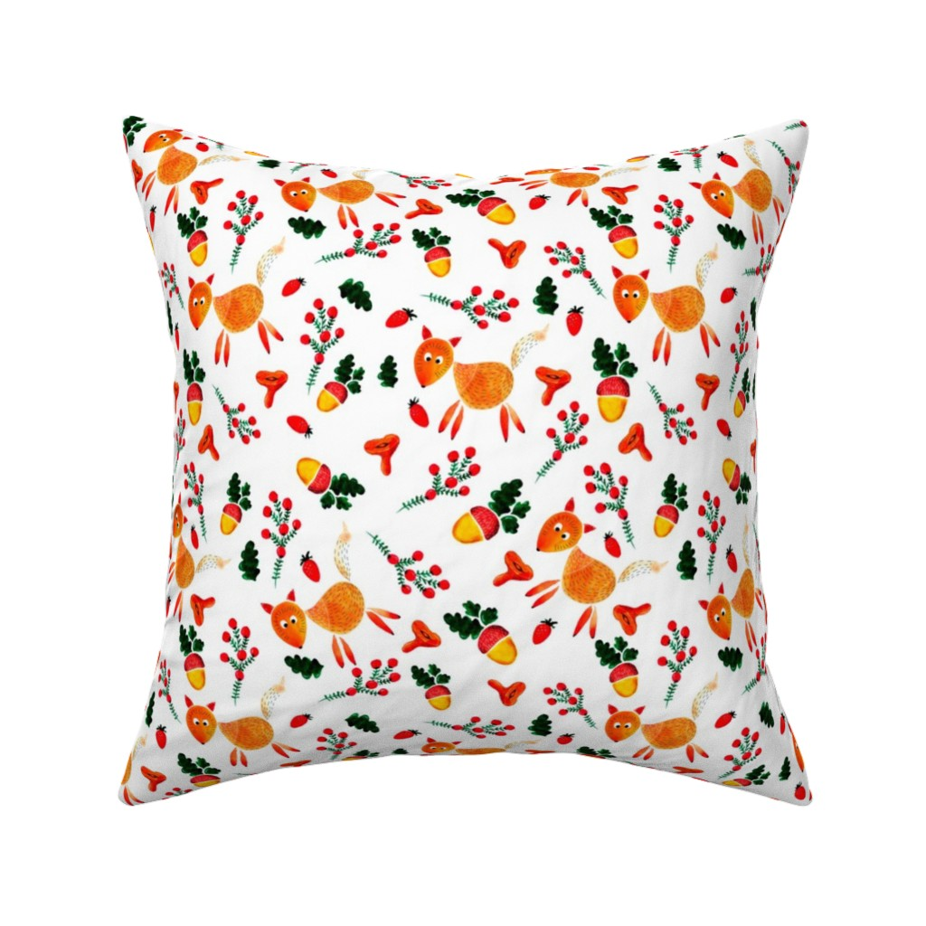 Catalan Throw Pillow featuring  chanterelles and acorns by katrinkastem
