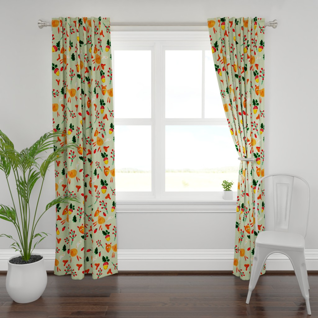 Plymouth Curtain Panel featuring chanterelles and acorns by katrinkastem