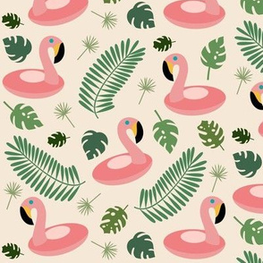 Flamingo Floats and Palm Leaves
