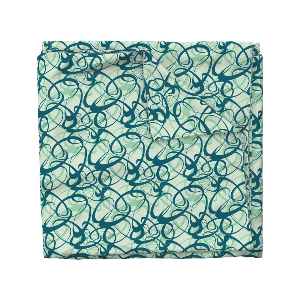 Wyandotte Duvet Cover featuring Circles with Ribbons.Blue by artonfabric