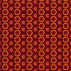 Geometric Pattern: Linked Hexagon: Orange/Red