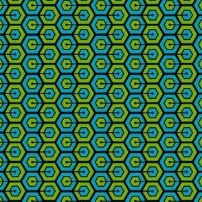 Geometric Pattern: Linked Hexagon: Blue/Green