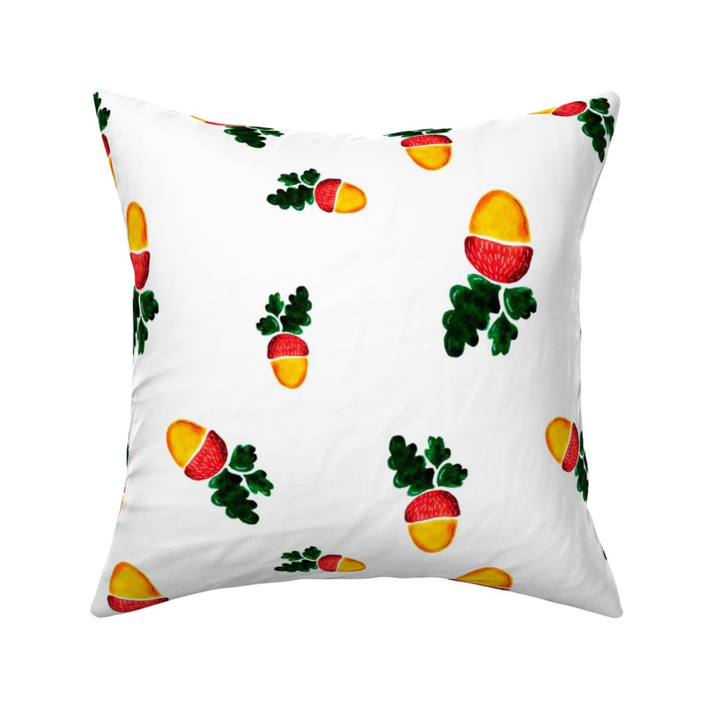 Catalan Throw Pillow featuring Watercolor acorns by katrinkastem