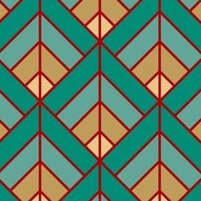 Geometric Pattern: Art Deco Diamond: Turquoise