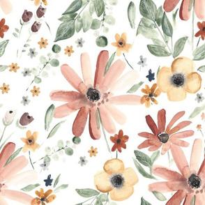 Large - Fall Watercolor Daisies