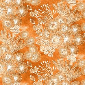Sea garden half-drop in orange