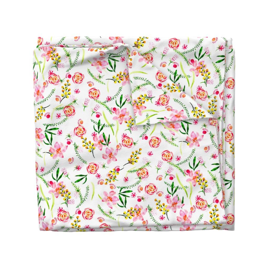 Wyandotte Duvet Cover featuring   watercolor flowers by katrinkastem
