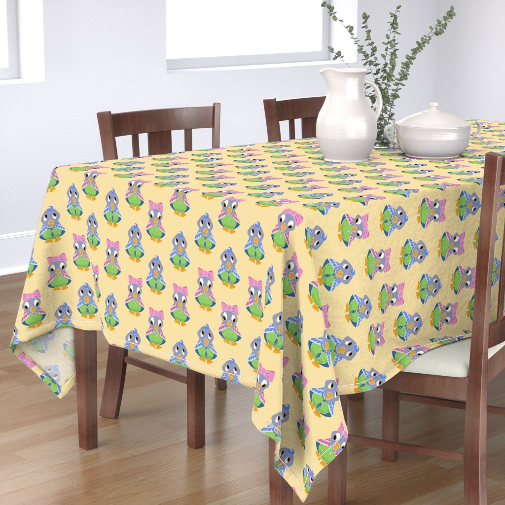 Bantam Rectangular Tablecloth featuring Birdie Girl and Boy by jaanahalme