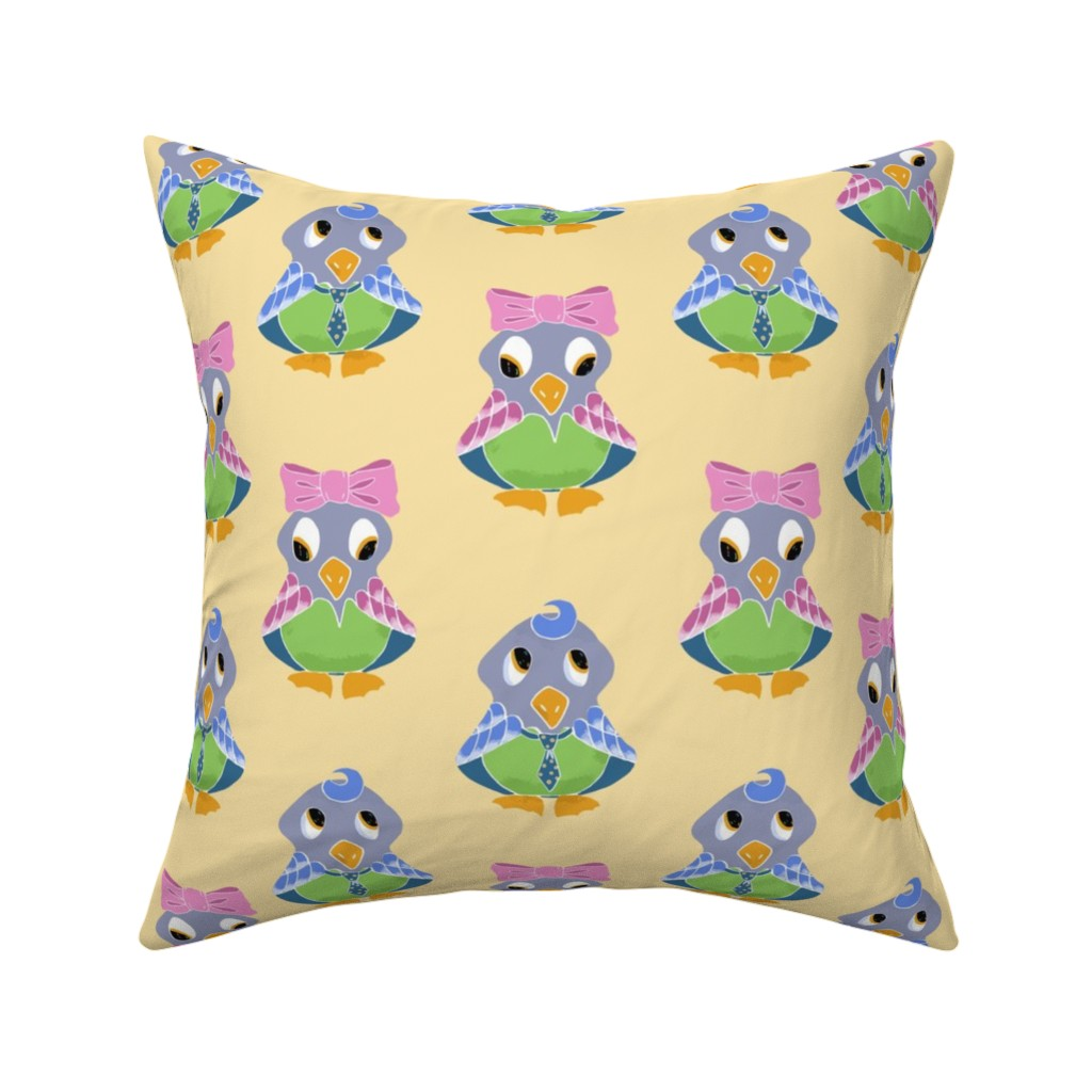 Catalan Throw Pillow featuring Birdie Girl and Boy by jaanahalme
