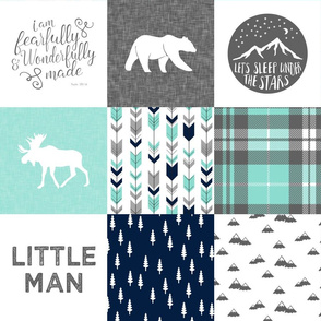 Little man - Fearfully and Wonderfully Made - Patchwork woodland quilt top  (light teal & navy)