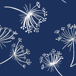 Queen Anne's Lace on Navy