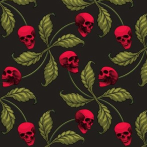 ★ ROCKABILLY CHERRY SKULL ★ Very Large Scale / Collection : Cherry Skull - Rock 'n' Roll Old School Tattoo Print