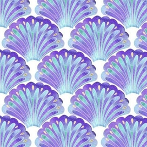 Purple and Blue Watercolour Mermaid Ocean Seashells