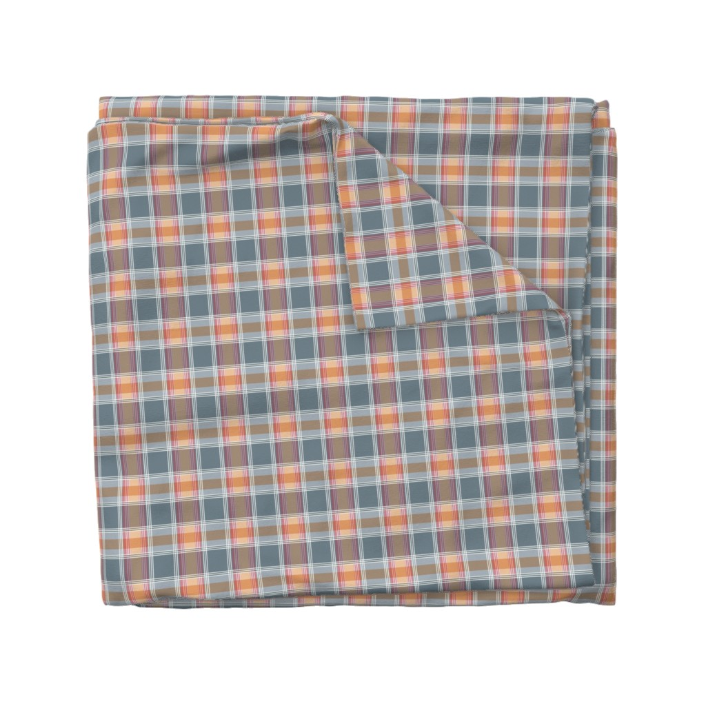 Wyandotte Duvet Cover featuring Plaid pattern orange and gray by jaanahalme