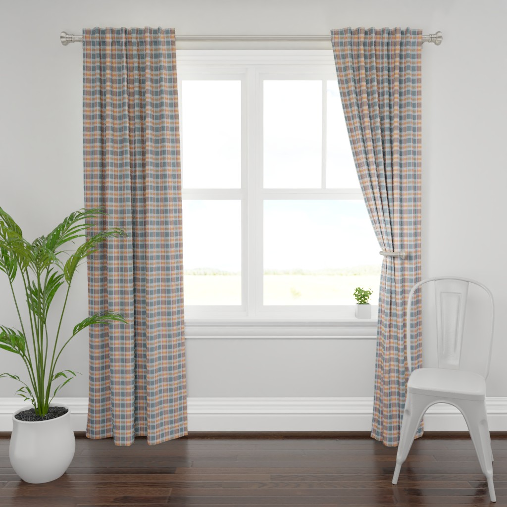 Plymouth Curtain Panel featuring Plaid pattern orange and gray by jaanahalme