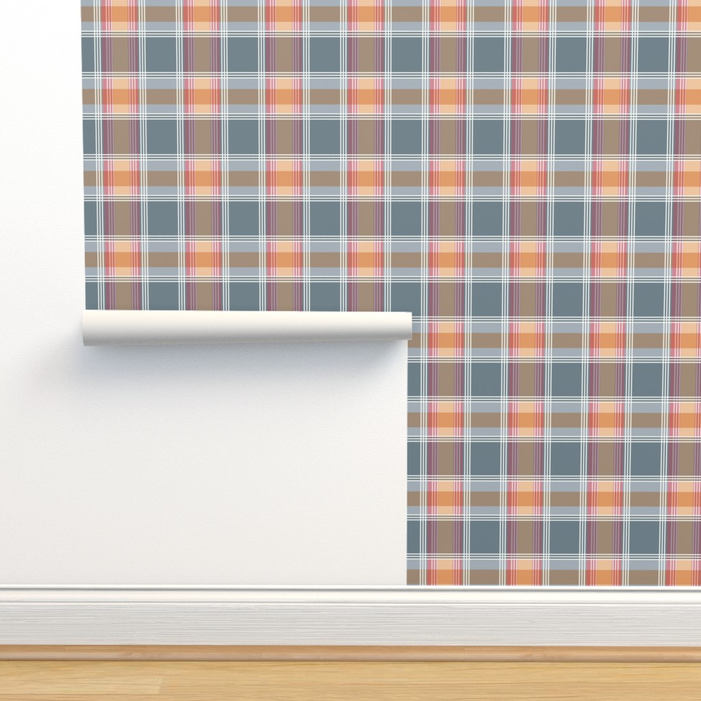 Isobar Durable Wallpaper featuring Plaid pattern orange and gray by jaanahalme